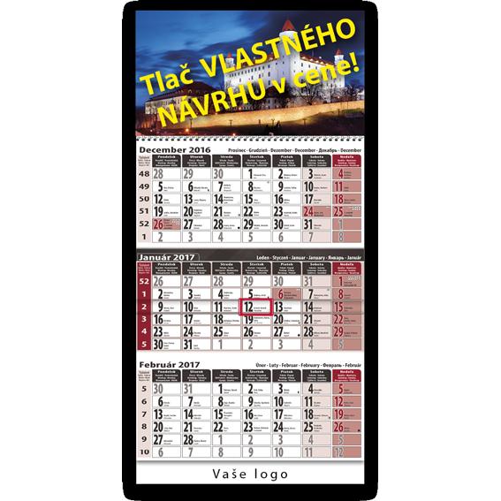 trojzložkový kalendár bordovo šedý